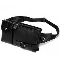 Кожаная черная сумка на пояс