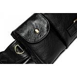 Кожаная черная сумка на пояс MR9080A, фото 7