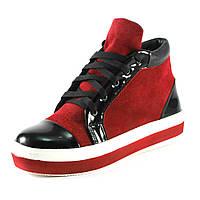 Ботинки демисез женск RENDI RD-007zl  красно - черный