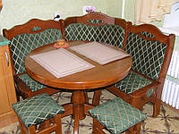 Кухонный уголок ПРАГА + с круглым столом из дерева для кухни и гостиной