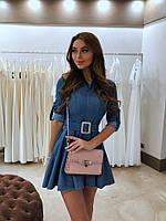 Красивое женское платье с поясом и расклешенной юбкой,цвет джинс