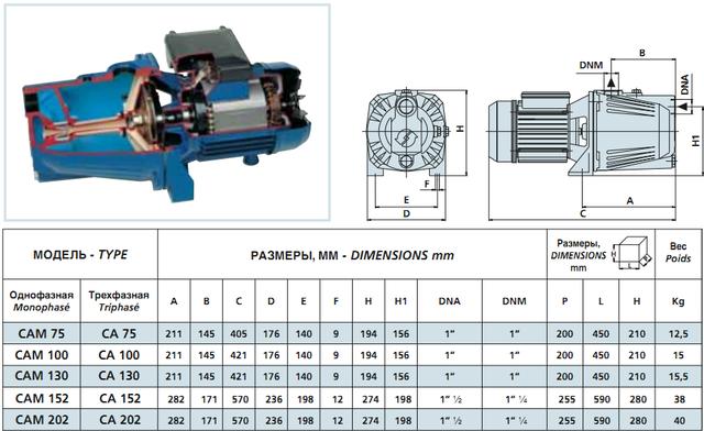 Центробежный поверхностный насос Speroni CAM 100–HL размеры