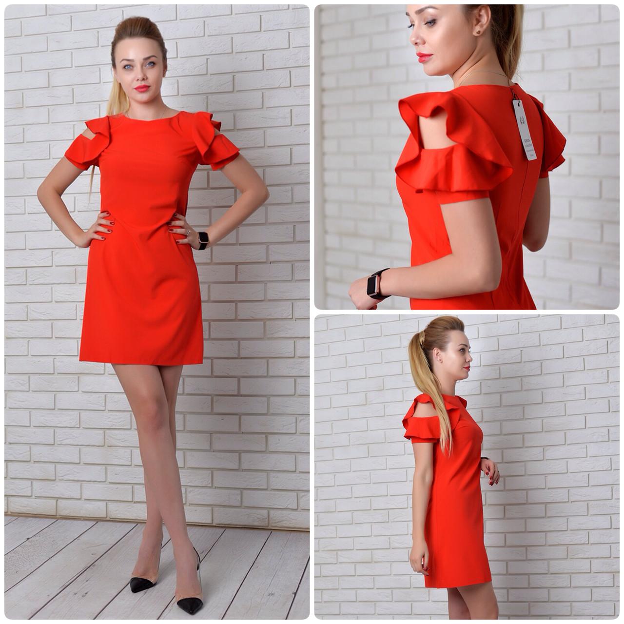 Платье с рюшами арт 783 красный