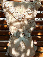 """Весенний конверт-одеяло  """"Ажур"""" на хлопковом подкладе (карамель), фото 1"""