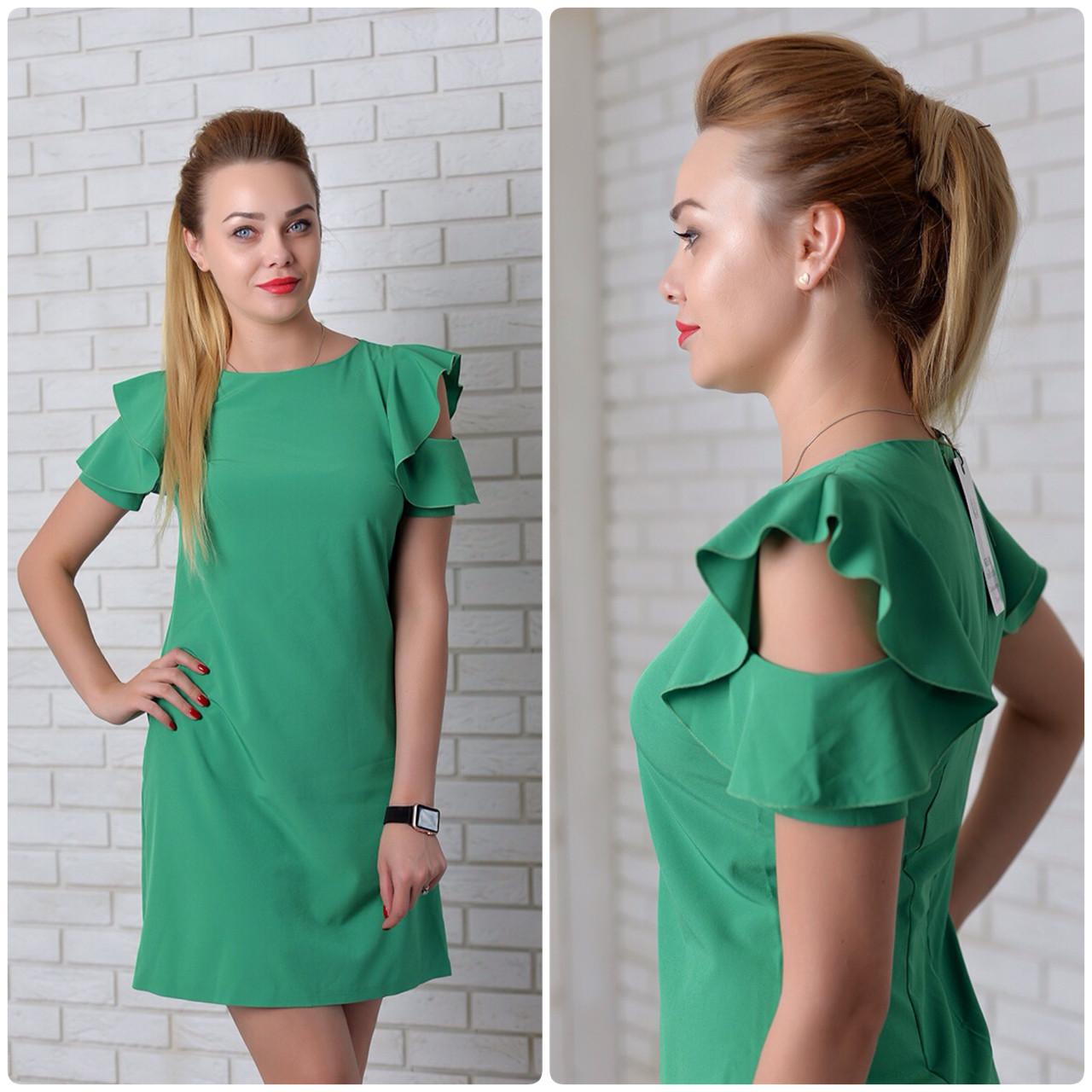 Платье с рюшами на плечах арт. 783 зелёный