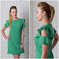 Платье с рюшами на плечах арт. 783 зелёный, фото 1