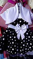 Нарядное  платье с болеро в горох для девочки.Стиляги.