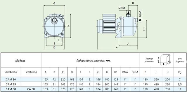 Центробежный поверхностный насос Speroni CAM 88–HL размеры