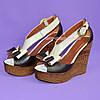 Кожаные женские босоножки коричневые с бежевым на высокой платформе от производителя, фото 3