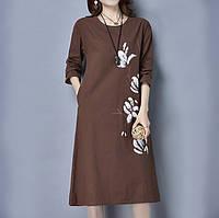 Коричневое летнее платье мешок с рисунком цветы