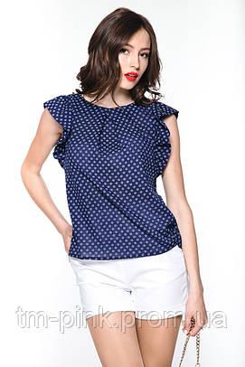 Блуза складки крила  т-синя