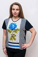 Летняя футболка с коротким рукавом для женщин, 54-58 р-ры, 370/330 (цена за 1 шт. + 40 гр.)
