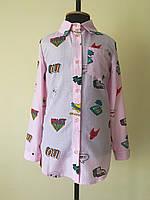 Рубашка для девочек, детская, с узорами