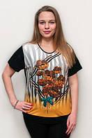 """Нарядная женская футболка прямого кроя """"Желтые маки"""", 54-58 р-ры, 370/330 (цена за 1 шт. + 40 гр.)"""