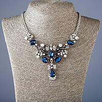 """Колье на цепочке с синими кристаллами L-50 см - цвет металла """"серебро"""""""