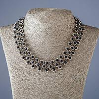 """Ожерелье """"Стальные цветы""""  с синими кристаллами L-45см цвет металла """"серебро"""""""