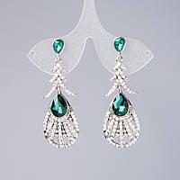 """Серьги с зелеными кристаллами """"Великолепный век""""  L-5 см цвет металла """"серебро"""""""