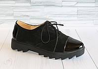 Туфли замшевые с лаковым носочком. Натуральная кожа. т09 1055