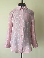 Рубашка для девочек, детская, полоска, со звездами