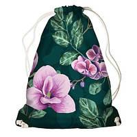 """Рюкзак мешок молодежный темно-зеленый с принтом """"Цветы"""" ,магазин рюкзаков"""