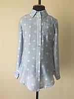 Рубашка для девочек, детская, полоска, голубого цвета