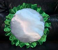 Подушка атласная круг, рюш зеленый