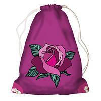 """Рюкзак мешок молодежный розовый с принтом """"Роза"""" ,магазин рюкзаков"""