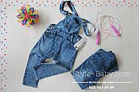 Детский джинсовый длинный комбинезон для девочки в горох размер 5,6,7,8 лет