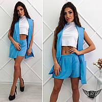 Женский костюмчик двойка жилетка и шорты-юбка короткие мини