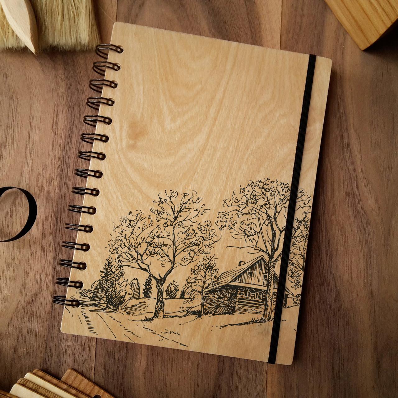 """Деревянный блокнот """"Деревянный домик"""" А6 (бумага 105х148 мм)"""