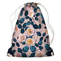 """Рюкзак мешок молодежный темно-синий с принтом """"Розы"""" ,магазин рюкзаков"""