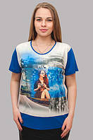 Летняя футболка с коротким рукавом для женщин, цвет - электрик, 54-58 р-ры, 370/330 (цена за 1 шт. + 40 гр.)