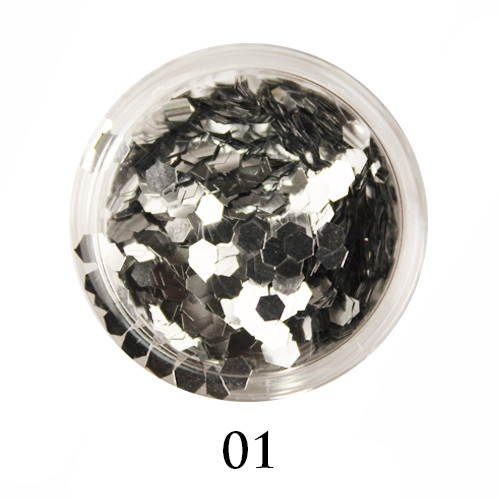 Блестки-многогранники для декора  Adore №1 Серебро