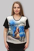 Нарядная женская футболка прямого кроя черного цвета, 54-58 р-ры, 370/330 (цена за 1 шт. + 40 гр.)