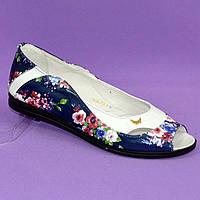 Женские летние балетки с открытым носком, из натуральной кожи с цветочным принтом. 37 размер