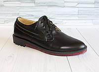 Черные кожаные туфли на шнурках. Натуральная кожа. т09 1056