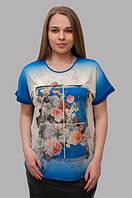 """Летняя футболка """"Пионы"""" с коротким рукавом для женщин, электрик, 46-50 р-ры, 370/330 (цена за 1 шт. + 40 гр.)"""
