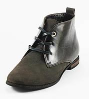 Ботинки демисез женск VOG Б-004-1к+н коричневая кожа+нубук
