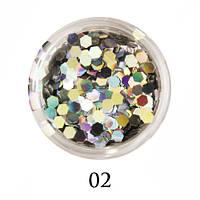 Блестки-многогранники для декора  Adore №2 Голографическое серебро