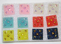 Серьги-пуссеты, пластик, металл, цветные (6 пар) 1_24_117a1
