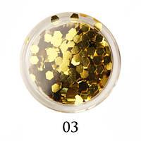 Блестки-многогранники для декора  Adore №3 Золото
