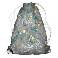 """Рюкзак мешок молодежный серый с принтом """"Велосипед"""" ,магазин рюкзаков"""