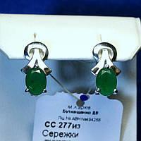 Серебряные серьги с зеленым камнем женские сс 277из