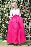 Сарафан фонарик в пол с цветной юбкой