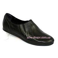 Туфли-мокасины кожаные мужские, цвет черный. 39 размер