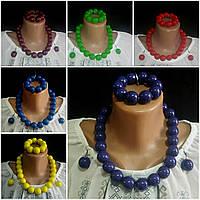 Комплект женский деревянный, глянцевый: бусы, серьги, браслет, d бусин 2 см, 55/45 (цена за 1 шт. + 10 гр.)