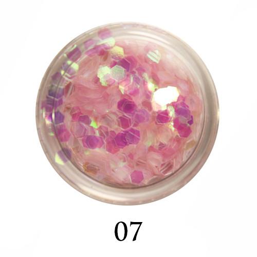 Блестки-многогранники для декора  Adore №7 Прозрачно-розовый