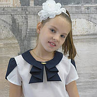 """Блузка для девочки """"Жабо""""(белая с синей отделкой), фото 1"""