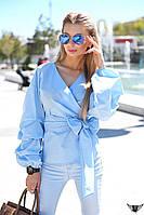 Блузочка с запахом на завязке и пышным драпированным рукавом