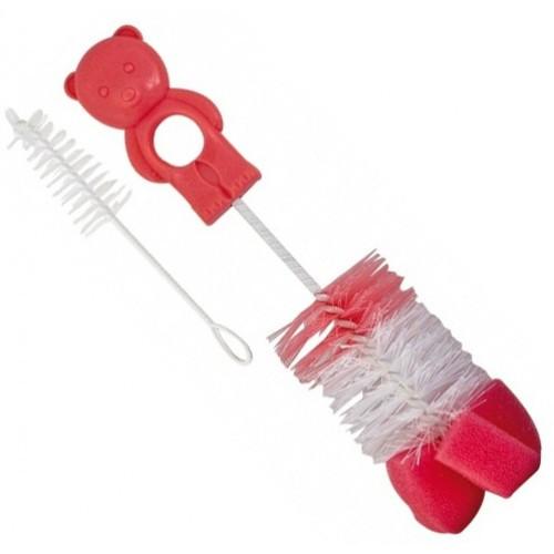 Щетка ершик с губкой для мытья бутылочек и сосок Canpol 2/410